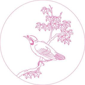 时尚小鸟纹线描雕刻图案  CDR