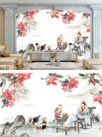 水墨山水人物背景墙壁纸壁画