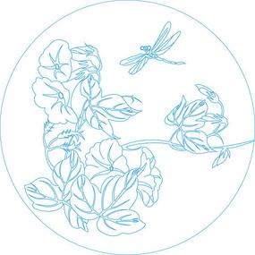 圆形蜻蜓花纹雕刻图案 CDR