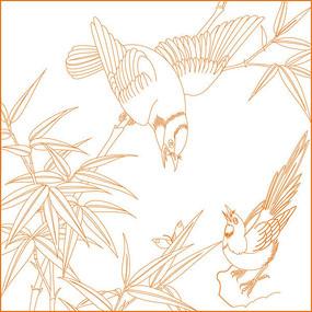 中式鸟纹竹纹雕刻图案 CDR
