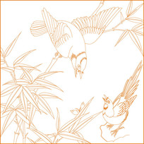 中式鸟纹竹纹雕刻图案