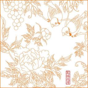 中式鸟语花香雕刻图案 CDR
