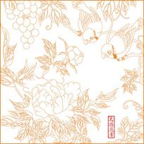 中式鸟语花香雕刻图案
