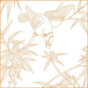 竹纹鸟纹线描雕刻图案 CDR
