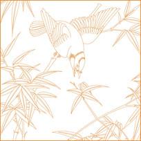 竹纹鸟纹线描雕刻图案