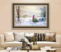 冬天風景無框畫客廳裝飾畫