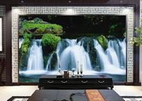自然奇观瀑布电视背景墙
