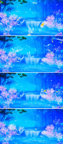 瀑布树林梦幻背景视频