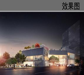 现代学校建筑设计夜景效果图