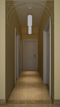 3D欧式走廊模型与效果图