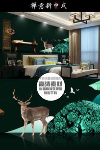大气新中式小鹿背景墙