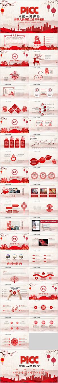 剪纸中国人民保险公司PPT