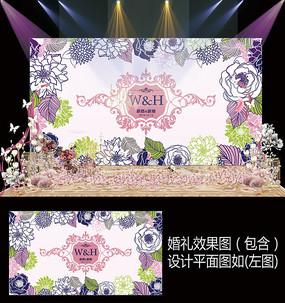 时尚手绘花卉婚礼背景设计