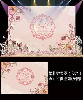 浪漫粉色婚礼甜品台设计