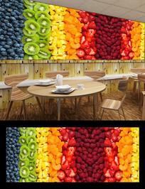 水果沙拉新鲜水果餐厅背景墙