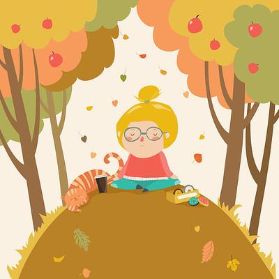 瑜伽时间在秋季公园插画