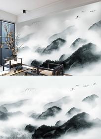 禅意新中式水墨山水背景墙