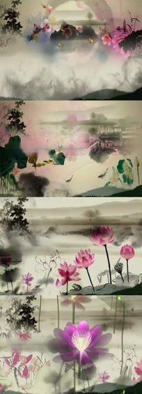 中国风国画荷花荷叶水墨视频