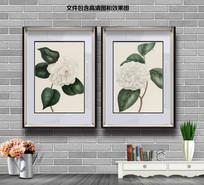纯手绘茶花玄关图装饰画