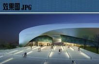 城市规划展示馆入口夜景效果图