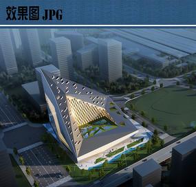 展览馆建筑设计鸟瞰图