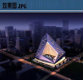 展览馆建筑设计夜景鸟瞰图