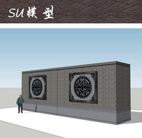 中式纹样景墙SU
