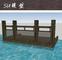 中式纹样栏杆SU