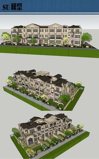 法式联排别墅su模型