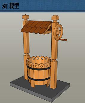 花园小品木制装饰水井su模型