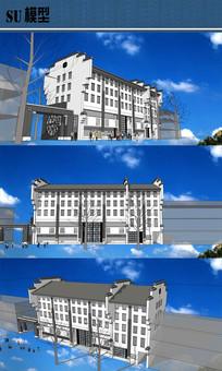 徽派新中式建筑房子SU模型
