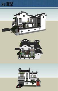 徽派中式住宅su模型