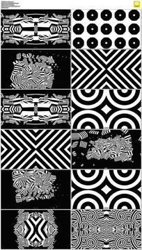 十款黑白图案动感vj视频素材