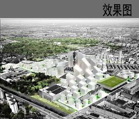 校园建筑设计概念鸟瞰图