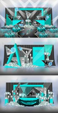 高雅蓝灰调主题婚礼背景AI设计