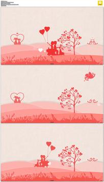 红色卡通情人节婚礼背景视频