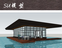 现代中式水榭构筑物