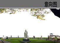 公园草坪雕塑分层素材