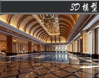 欧式奢华SPA会所游泳池3D