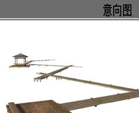 水上木栈桥素材