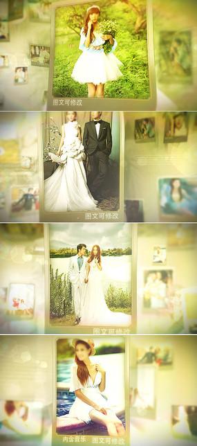 三维空间照片悬浮婚礼相册模板  aep