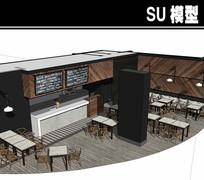 大理石桌子咖啡厅SU模型