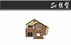 复古美式别墅模型
