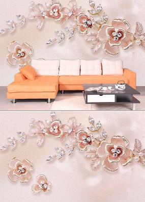 水晶花唯美沙发背景墙