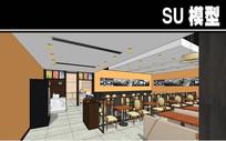 现代简约餐厅内部SU模型