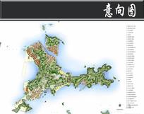 浙江某岛城总体平面图