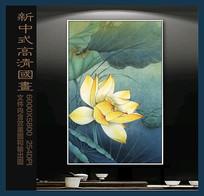 中国风金色荷花国画装饰画