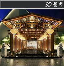 中式饭店门头模型