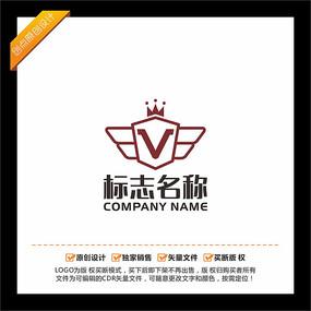 V字母皇冠翅膀LOGO设计
