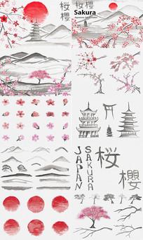 古典樱花山水墨素材